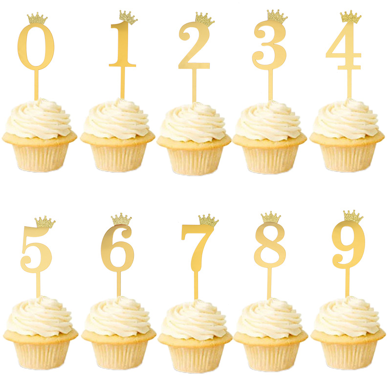 10pcs Figure 0 1 2 3 4 5 9 Gold Silver Crown Number Cake Topper