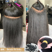 Hair Microlinks Extenstions Kinky Coarse Straight 3-Bundles Bulk 1--2 Light-Yaki I-Tip
