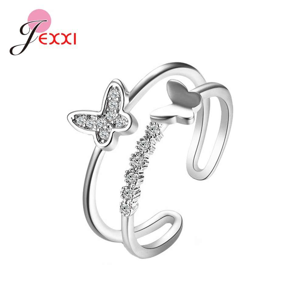 Good Quality Women Girls 925 Sterling Silver Butterfly Rings For Sale New Fashion Romantic Openning Rings For Wedding/Engagement