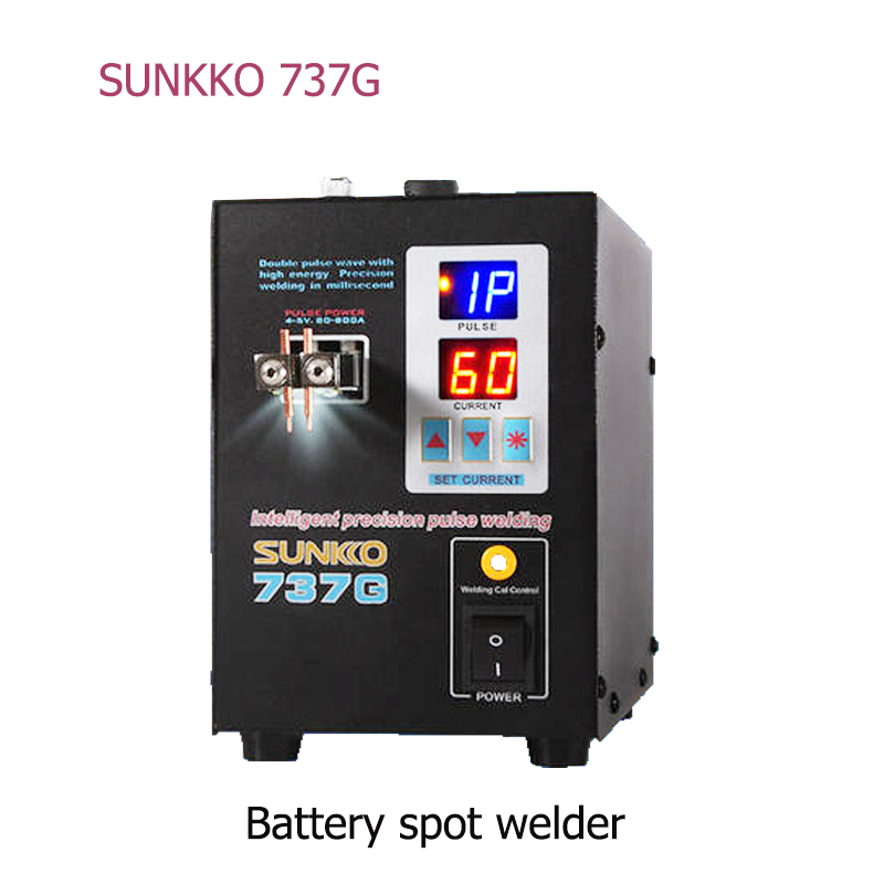 SUNKKO Spot-Welder Welding-Machine 737G Dual 18650 Battery Digital-Display Double-Pulse