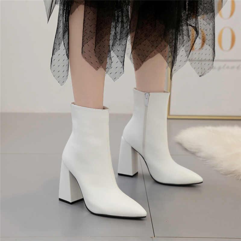 Năm 2019 Thời Trang Cao Cấp Nữ 10.5cm Giày Cao Gót Tôn Sùng Mút Giày Da Khối Trắng cao Gót sang trọng Cổ Chân Giày Scarpins Chun giày