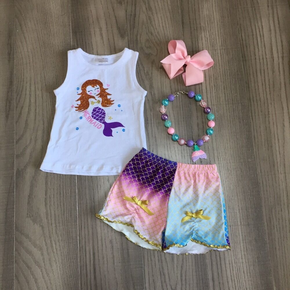 Baby Girls Summer Outfits Girls Mermaid Shirt Fish Scale Print Shorts Princess Outfit With Accessories