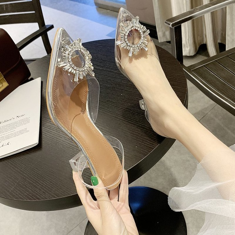 Women High Quality Sexy Pumps Transparent Rhinestone Pointed High Heel Shoes Ladies Stiletto Party Wedding Shoes Working Pumps