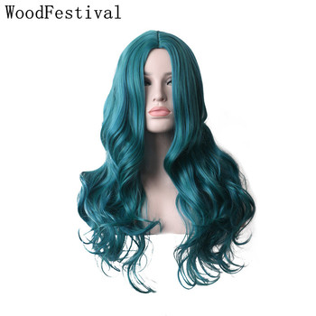 WoodFestival Heat Resistant Synthetic Hair Wigs Women Long Wavy Cosplay Wig Ombre Mint Green Blue Purple Pink Burgundy Blonde cosplay synthetic long fluffy purple gradient side bang wavy wig
