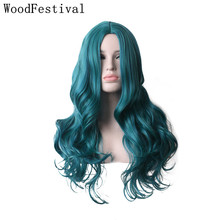 WoodFestival Womens Mix color Bright Blue Green Curly Synthetic Wig Heat Resistant Women Long Cosplay Wigs цены онлайн