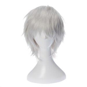 Парики гинтама гинтоки Саката для косплея 35 см/13,8 дюйма короткие Серебристые белые мужские синтетические волосы Perucas Аниме костюм Ролевые игры парик