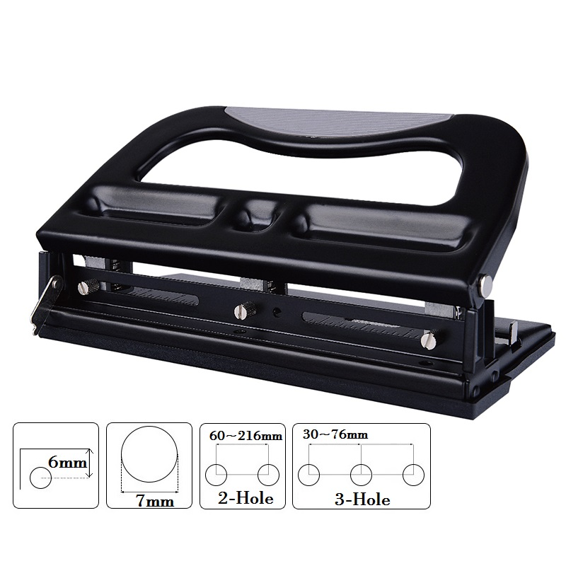 2-Hole / 3-Hole System Hole Punch Metal Heavy Duty Puncher Adjustable And Detachble Puncher Head; 40-sheet Capacity