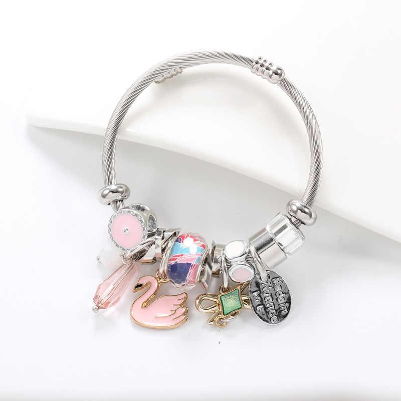 Fashion Anak Gelang Perhiasan Hewan Cute Swan Elemen Disesuaikan Ukuran Cool Stainless Steel Ornamen Gelang