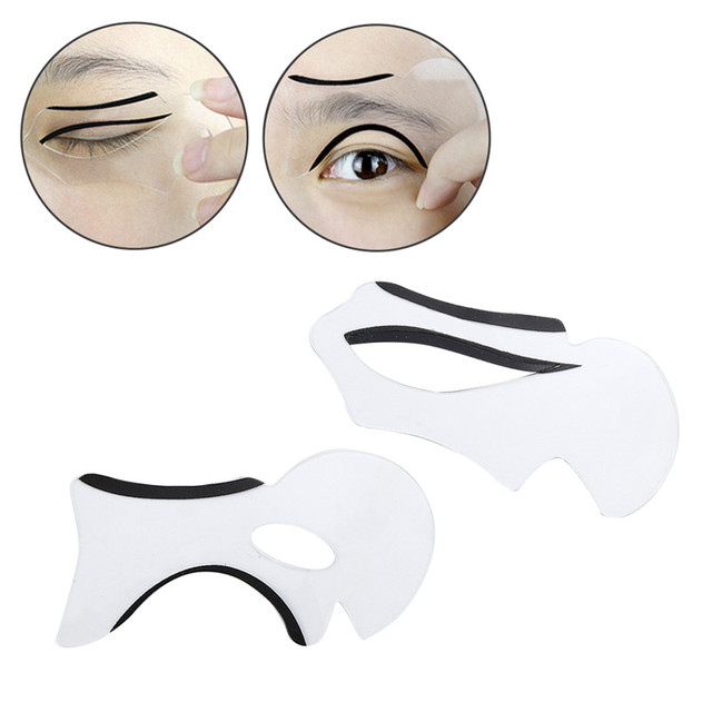 2pcs Eyebrow Stencils Cat Eye&Smokey Eye Makeup Eyeliner Models Card Stencil Template NEW Charm Lady Shaper Bottom Liner Tools 3