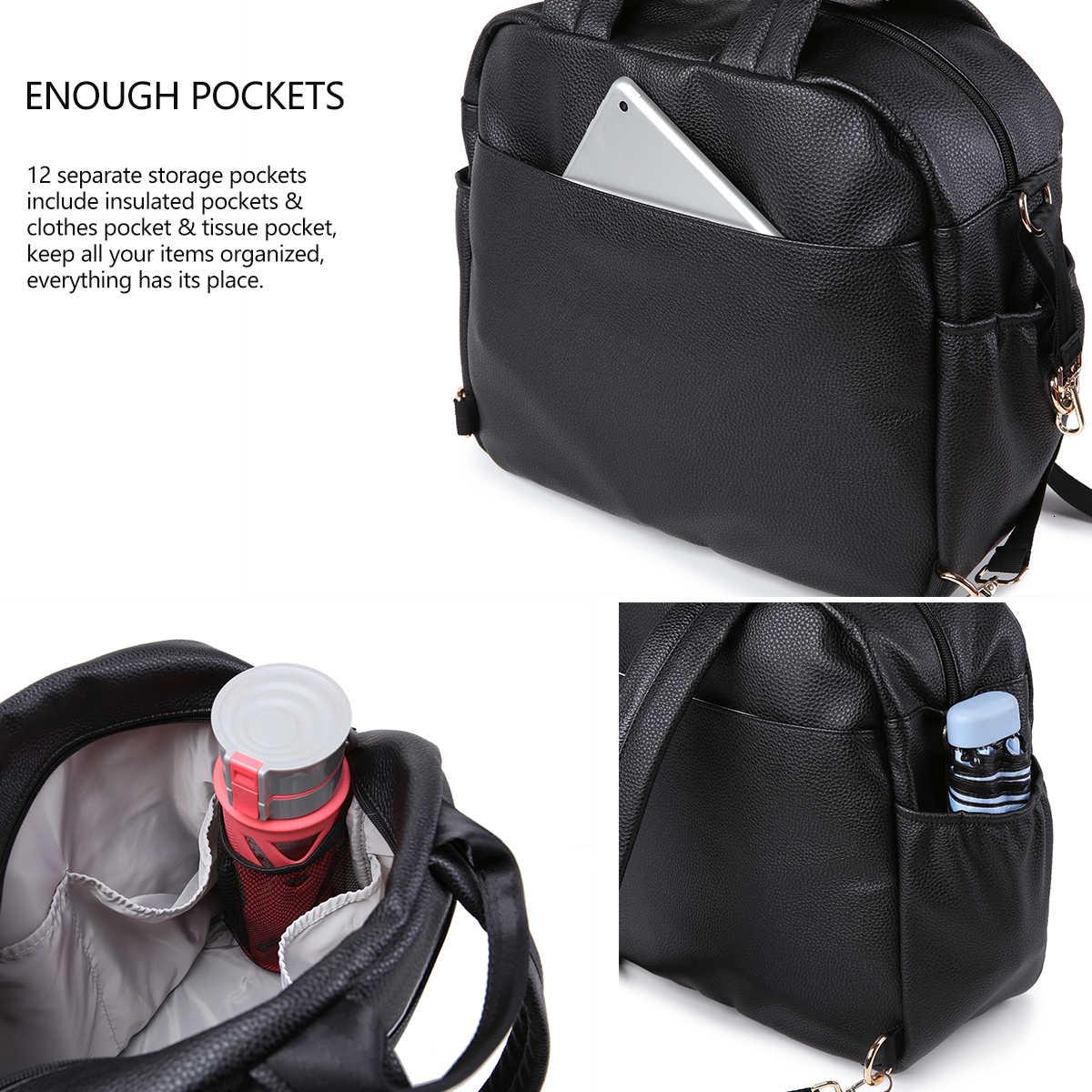 Soboba bolsa de pañales para bebé recién nacido sólido multifuncional impermeable bolsa de cambio de maternidad para cochecito de cuidado de bebé bolsa de moda