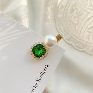 Image 5 - Pinces à cheveux en alliage avec strass verts de style rétro pour femmes, 1 pièce, petites et exquises, accessoires pour cheveux