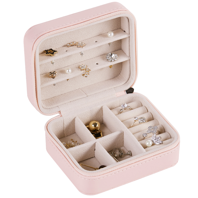 15 Days To Russia 3-Storey Korean Girl Earrings Plate Portable PU Earrings Ring Necklace Multi-Function Jewelry Storage Box