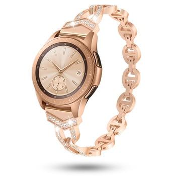 Women Diamond Strap for Samsung Galaxy Watch 42/46mm/Active 2 1 Band for Samsung Gear S3 Quick Release Bracelet Metal Wrist Belt