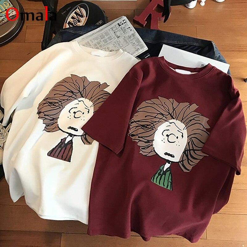 Summer Women Vintage Short Sleeve T Shirt Cartoon Print Harajuku White Top Loose Short Sleeve Large Size Casual T-shirts Clothes