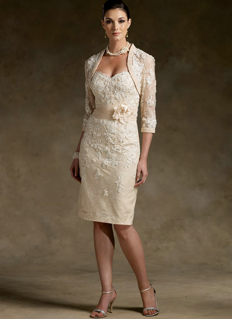 Champagne Chiffon Knee Length Mother Of The Bride Lace Dresses Sheath Three Quarter Sleeves Wedding Party Dresses