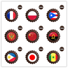 Frankrijk Polen Puerto Rico Montenegro China Angola Senegal Filippijnen Japan Glas Cabochon Nationale Vlag Hout Broches Voor Gifrt(China)