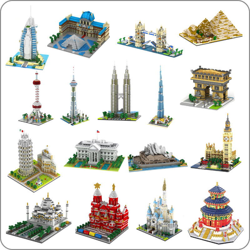 YZ Architecture Taj Mahal Castle Pisa Louvre Museum Leaning Tower Khalifa Tower Bridge Diamond Building Small Blocks Toy No Box