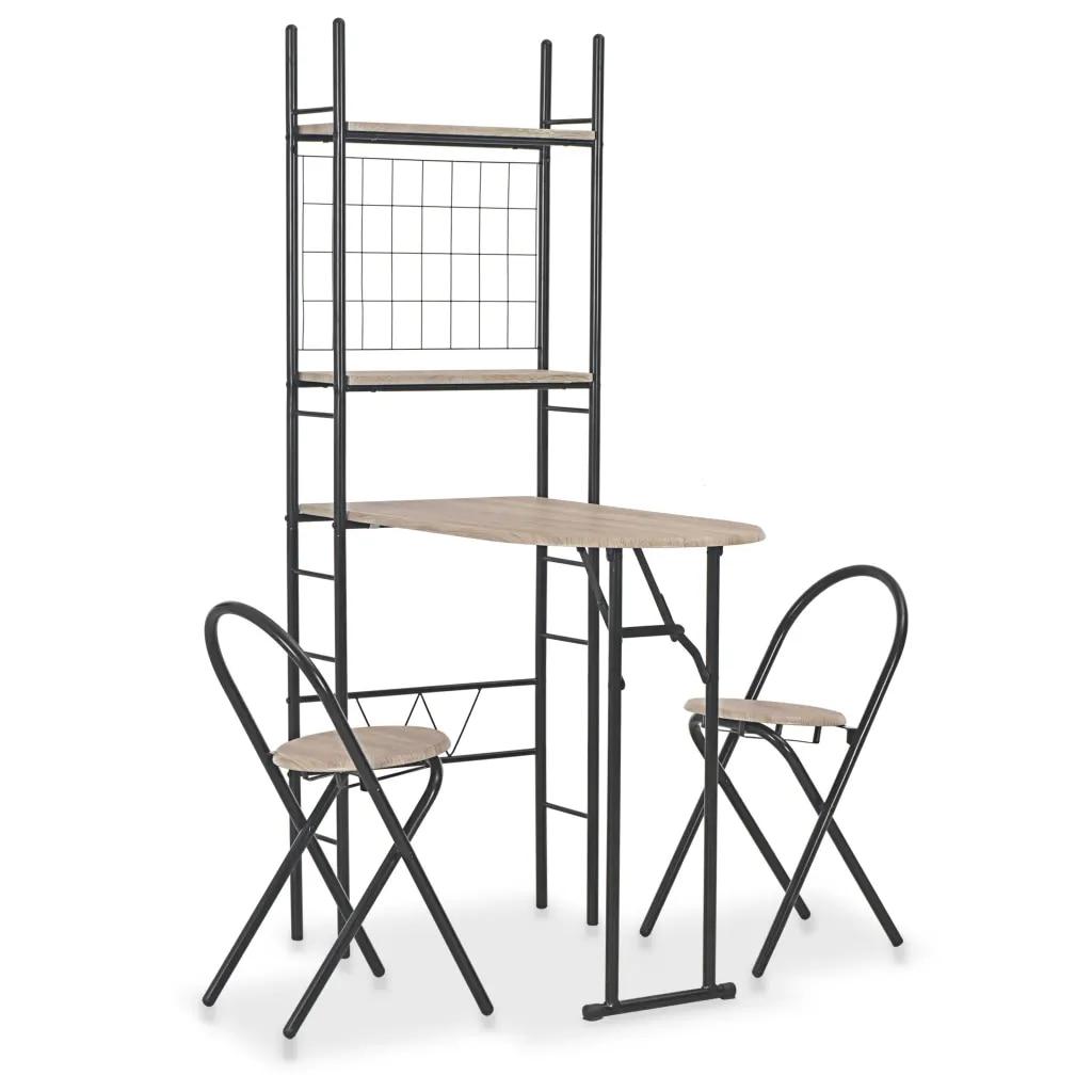 Ensemble de salle à manger pliant 3 pièces avec support de rangement pour salle à manger MDF et Table en acier pour salon meubles de salle à manger durables