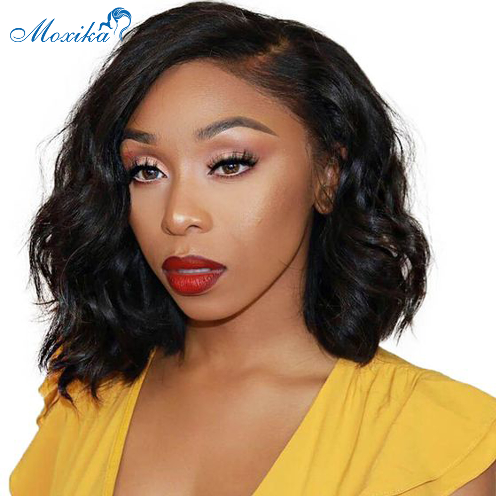 Moxika Wavy Short Bob Lace Front Wig Mongolian Wavy Bob 13*4 Lace Front Human Hair Wigs Remy For Black Women Pre Plucked 8
