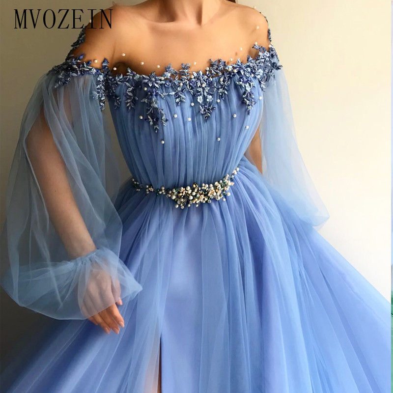 MVOZEIN Sky Blue Evening Dress Tulle A-Line Jewel-Neck Sleeve Split Prom Dress Long Formal Gowns 2020 Abiti Da Cerimonia Da Sera