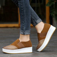 2019 New Women's Shoes Artificial Genuine Leather Increase Female Shoes Sports Shoes Shoes Muffin With Women's Soft Shoes I2 35