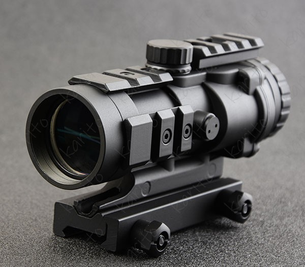 Tactical 4x32 Rifle Scope With Three Sides Picatinny Rail Mount Base Waterproof Shockproof M7368