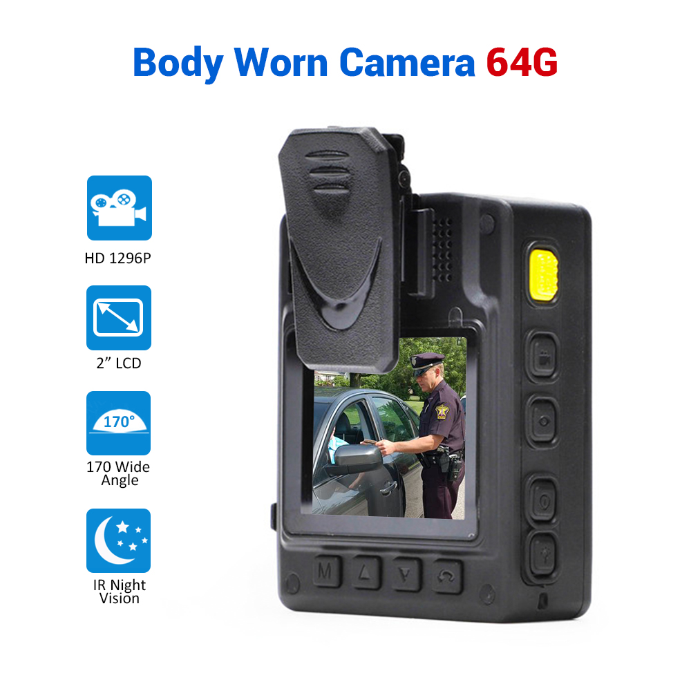 Police Body Worn Camera HD 1296P Security Video IR Night Vision Built in 64GB Wearable Mini Camcorders police camera CAM|Surveillance Cameras| |  - title=