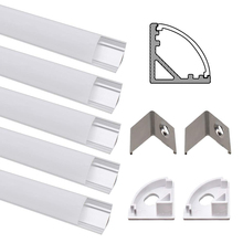 20pcs aluminum profile for led strip led profile aluminum for 10mmpcb,90 degree corner led profile diffuser цены