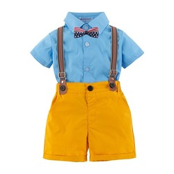 Топ и топ, комплекты одежды для маленьких мальчиков, одежда для новорожденных мальчиков, шорты, топы с рукавами + комбинезоны, комплекты из 2 ...