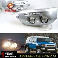 Free shipping ! 12V 6000k LED DRL Daytime running light case for Toyota FJ cruiser Fog lamp frame Fog light Car styling