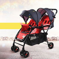 Baby Stroller Twin Stroller Four Rounds Can Sit and Lie Large and Comfortable Foldable Multiple Choices Mom's Favorite