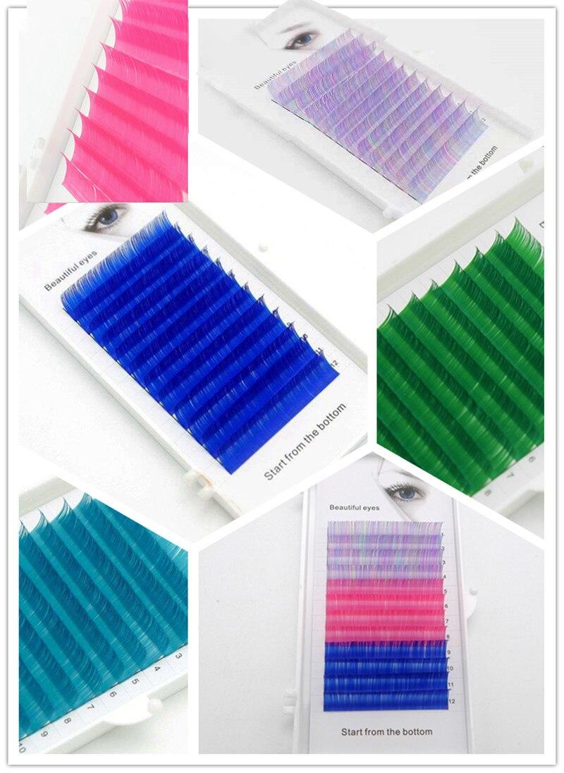 2019 New C/D Curl 0.07/0.1mm  8/15mm False Lashes Blue Color Eyelash Individual Colored Lashes Faux Volume Eyelash Extensions