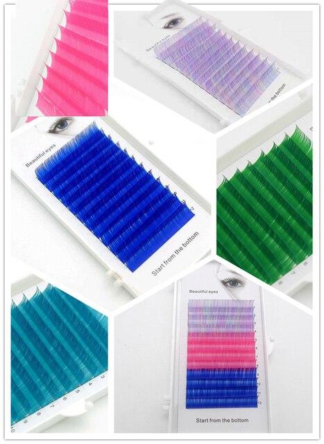 2019 neue C/D curl 0,07/0,1mm 8/15mm falsche wimpern blau farbe wimpern individuelle farbigen wimpern Faux volumen wimpern extensions