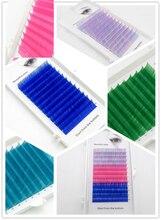 Pestañas postizas de color azul, novedad de 2020, 0,07, 0,1mm, 8 o 15mm, pestañas individuales de colores, extensiones de pestañas con volumen