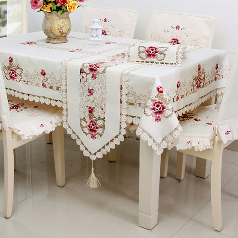 Beige Plain Dyed Jacquard Table Cloth Pastoral Style High Quality Handmade Cover Pink Rose Pattern Oil proof Tablecloth