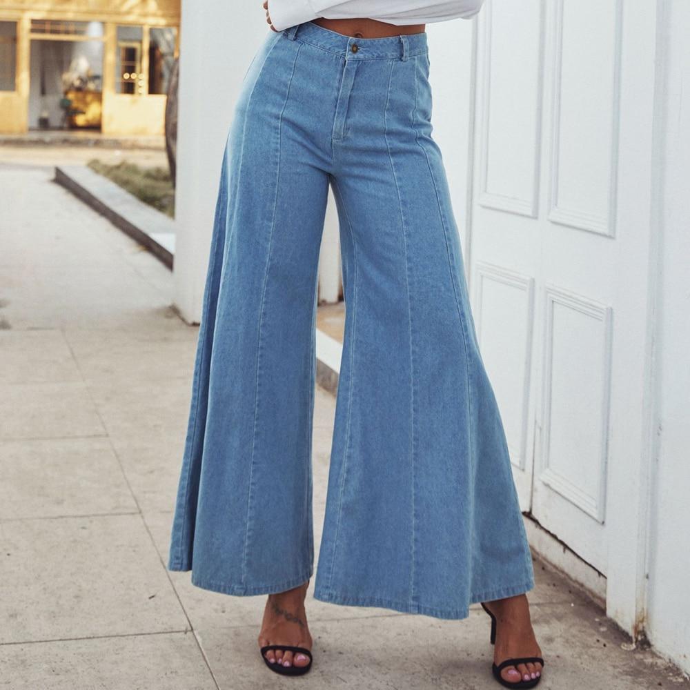 Women High Waist Stretchy Denim Wide-Leg Palazzo Pants Jeans Casual Trousers UK