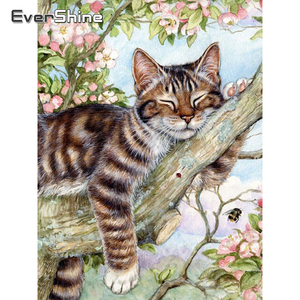 Evershine 5D DIY Diamond Painting Cat Cross Stitch Animal Embroidery Complete Kit Picture Of Rhinestones Mosaic Decoration Home