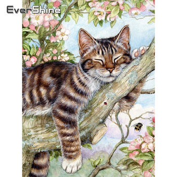 Evershine 5D DIY Diamond Painting Cat Cross Stitch Animal Embroidery Complete Kit Picture Of Rhinestones Mosaic Decoration Home фото