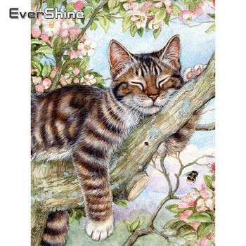 Evershine 5D majsterkowanie malowanie diamentowa kot ścieg krzyżykowy haft ze wzorem zwierzęcia kompletny zestaw obraz z kryształków mozaika do dekoracji domu tanie i dobre opinie Obrazy Kolorowe pudełko Oddzielne Żywica Pełna Zwierząt Zwinięte 30-45 Plac Nowoczesne Diamond Painting Cat Stick 10 Diamonds One Time