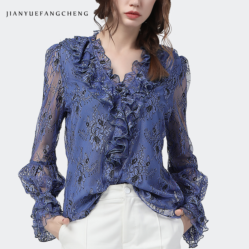Fashion Women Lace Blouse Embroidered Ruffled V-Neck Long Sleeve Pull On Top New 2020 Spring Summer See Through Office Blouses