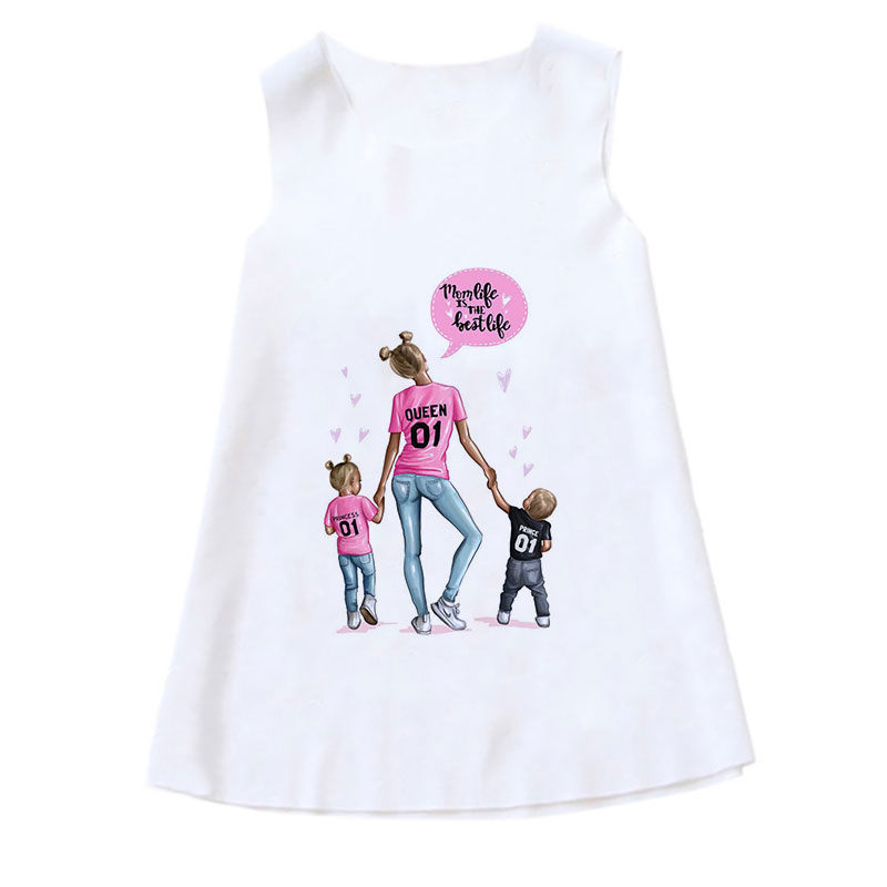 New Casual Summer Sleeveless 4T-9T Girls Dresses Kids Fashion Lady Super Mom Dress Print Children Clothes Girl Active Sundress 3