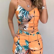 2020 Women Fashion Elegant Sexy V Neck Casual Print Spaghett
