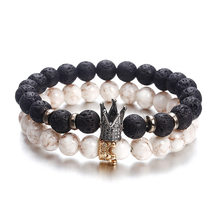 Handmade Natural Stone Beads Charm Bracelets for Women Mens Bracelets 2019 Round Bead Bangles for Men Accessories Bracelet Men(China)