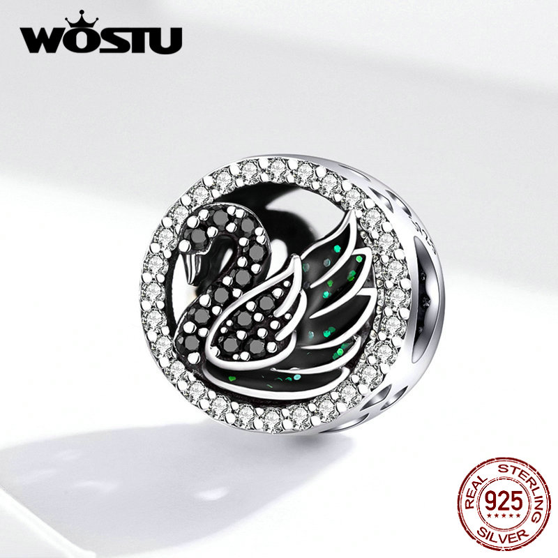 WOSTU 2019 New Arrival Black Swan Beads 925 Sterling Silver Zircon Round Charms Fit Original Bracelet Pendant Jewelry FIC1342