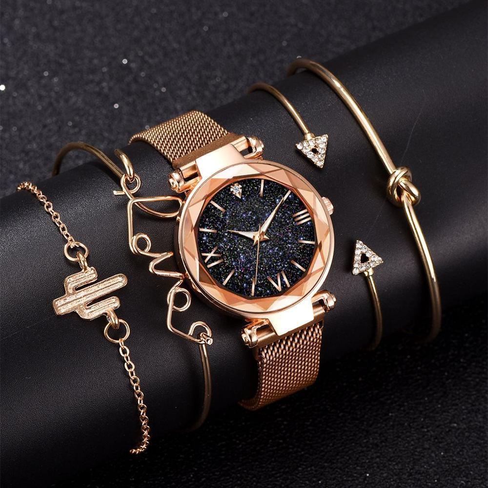 5 adet Set lüks kadın saatler manyetik yıldızlı gökyüzü kadın saat kuvars kol saati moda bayan kol saati relogio feminino