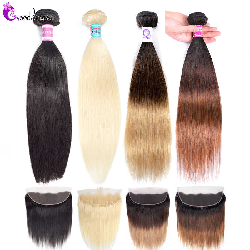 Brazilian Straight Hair Bundles With Frontal Blonde 613 Bundles With Frontal 3 Tone Ombre Human Hair Bundles With Frontal Remy