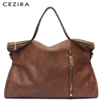 CEZIRA Large Women Tote Designer Handbag Carry Shoulder Bag Vintage Rivets Handbag Female Zipper Pu Leather Messenger Purse Bag