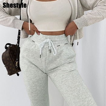 цена на Shestyle Drawstring Jogger Pants Women Letter Printed Casual Loose Gray LUCKY Plain Autumn Streetwear Trackpant Trousers