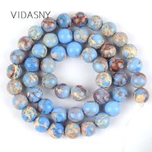 Natural Stone Light Blue Sea Sediment Round Beads For Jewelry Making 6 8mm Spacer Diy Bracelet Necklace 15