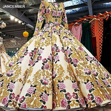 LS39810 heavy beaded evening dresses long sleeve flower pattern gowns sexy sequin pronm evening dresses china alibaba wholesale